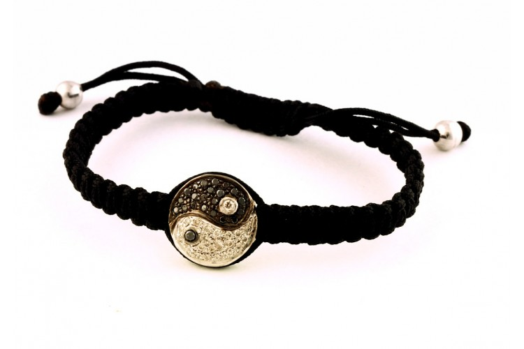 Yin Yang Bracelet White Black Diamond