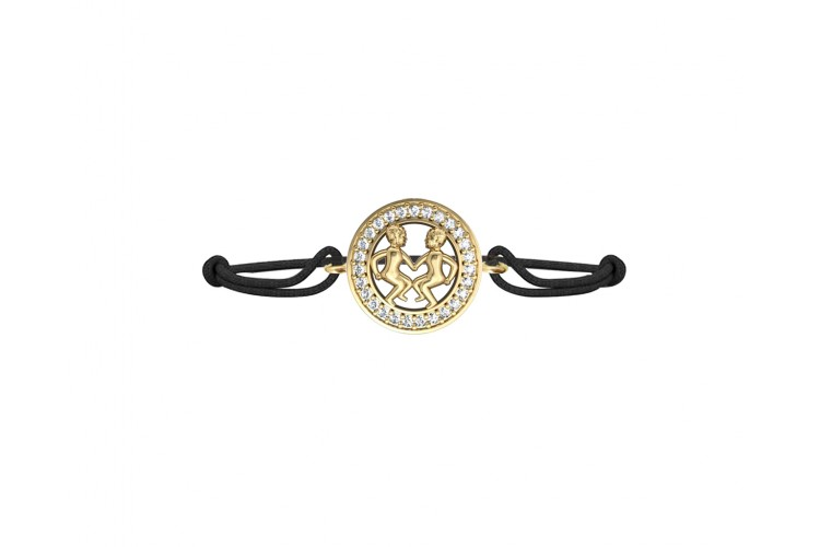 Gemini Bracelet in Gold with Diamonds on Size Adjustable Nylon Thread