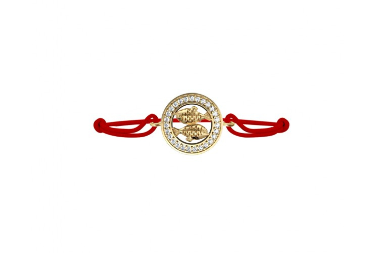 Pisces Bracelet in 14kt Gold with Diamonds On Size Adjustable Nylon Thread