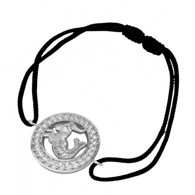Capricorn Bracelet in Silver with 27 Diamonds on Nylon Thread