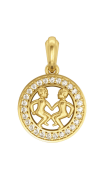 Gemini Charm Pendant in 14K Gold Studded with Diamonds with Leather Cord
