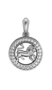 Leo Charm in Silver