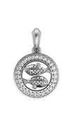 Pisces Charm Pendant in Silver with 27 Certified Diamonds