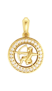 Sagittarius Charm in 14k Gold studded with 27 Diamonds