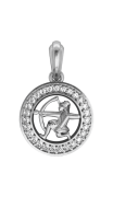 Sagittarius Charm Pendant studded with Diamonds in 92.5 Silver