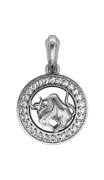 Taurus Charm in Silver with 27 Brilliant Cut Diamonds
