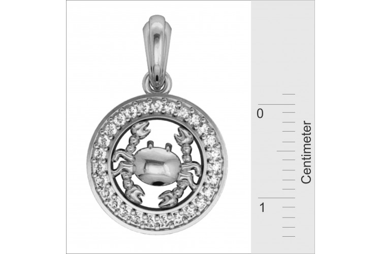 Cancer Charm in Silver with 27 Diamonds