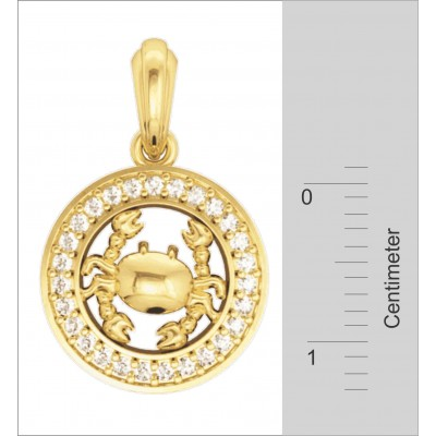 Cancer Charm in 14K Gold Studded with Diamonds with leather cord