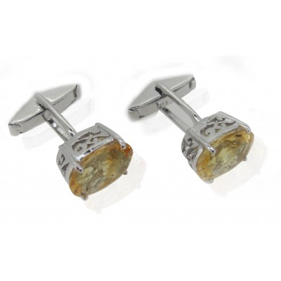Citrine Cufflinks with filigri