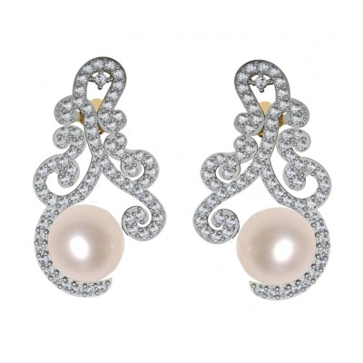 Alluring Pearl & Diamond designer Earrings
