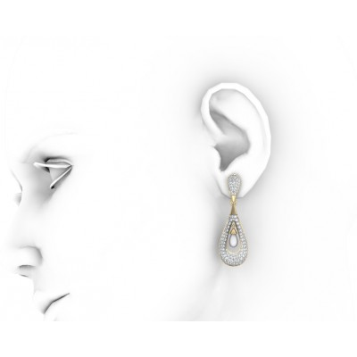 Attractive Slender Pearl & Diamond Earrings