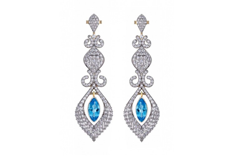 Beautiful Blue Topaz & Diamond Earrings