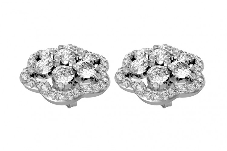 Bewitching Diamond Floral Cluster Earrings