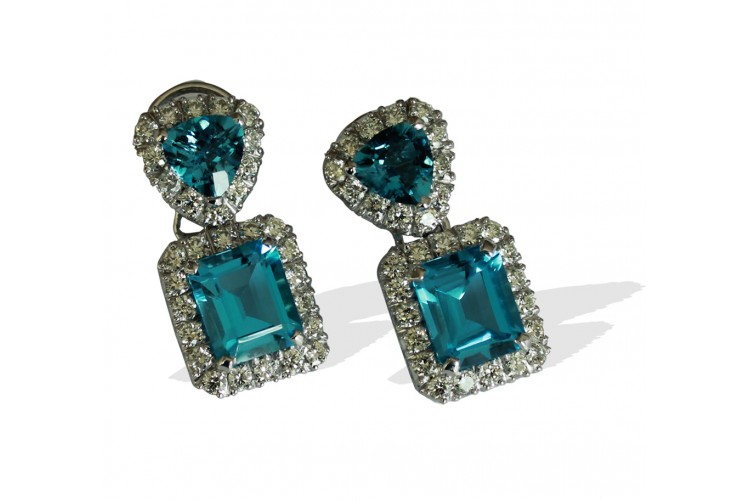 Buy Blue Topaz With Diamonds Earrings Online In India At