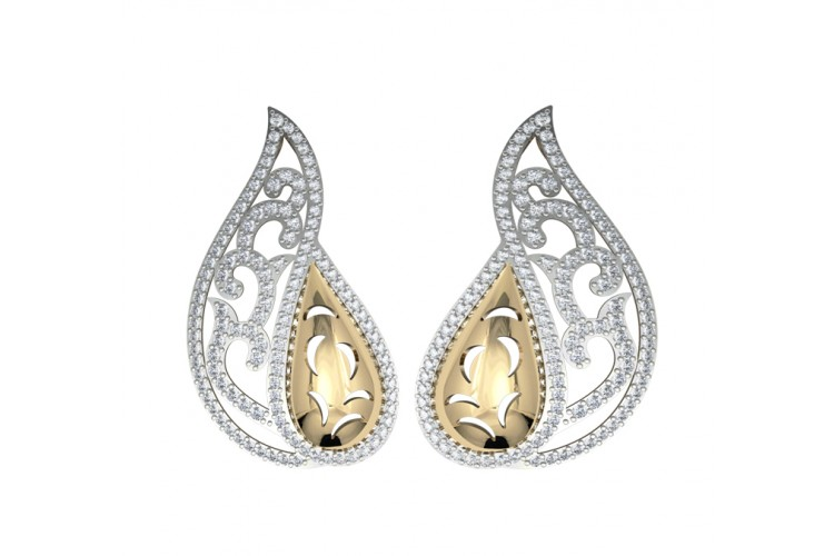 Contemporary Two tone Diamond Earclips