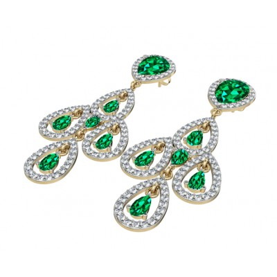 Delicate Emerald Diamond Danglers