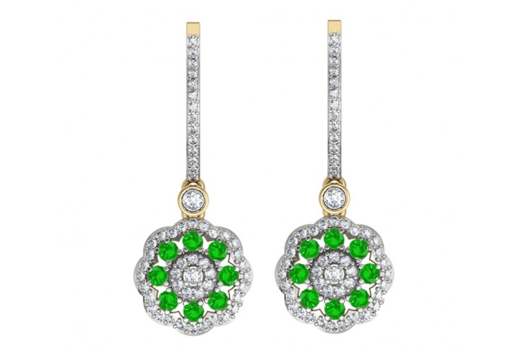 Delicate Emerald Diamond Earrings On Hoops