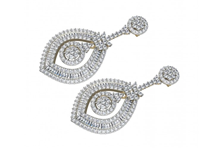 Diamond Danglers with Baguettes