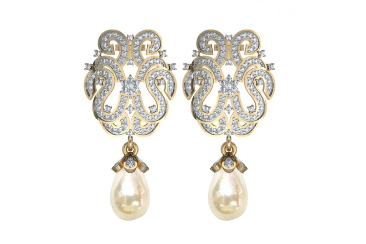 Diamond Earrings with Pearl drops