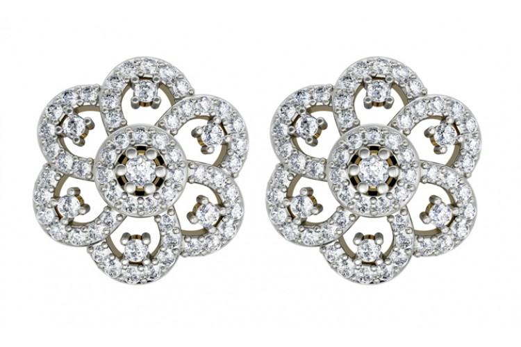 Diamond Floral Cluster Eartops