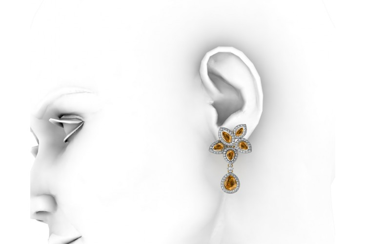 Eminence Yellow sapphire & Diamnond Earrings