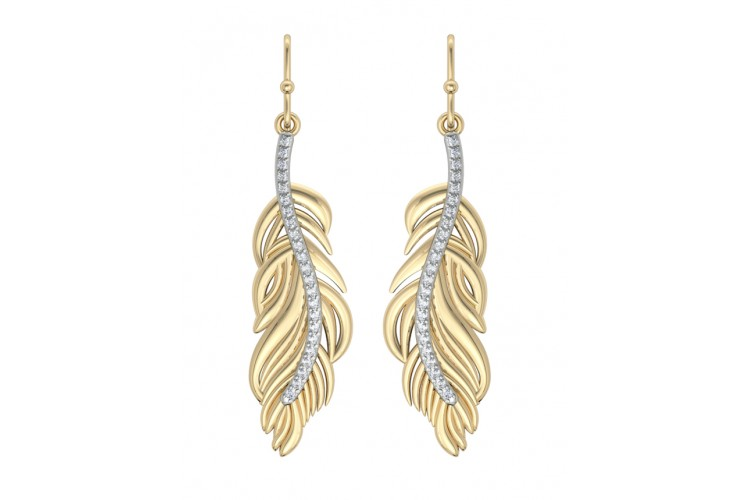 Feather Earring In Gold with diamonds