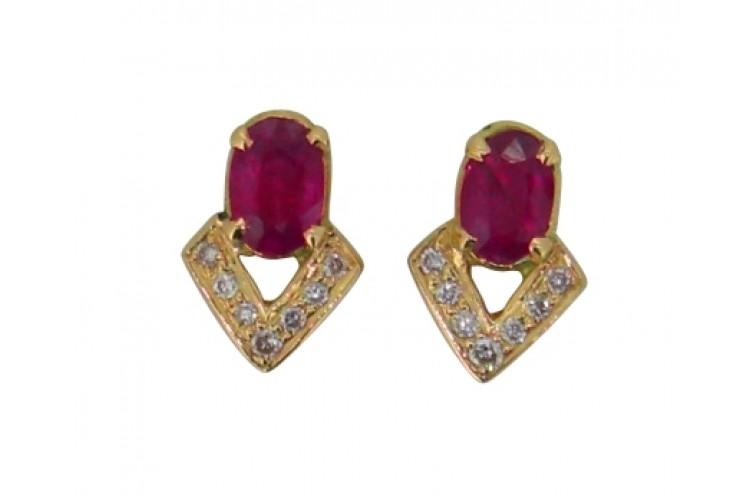 Ruby Diamond Earring In Gold
