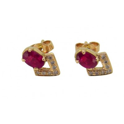 Ruby & Diamond Earring in Gold