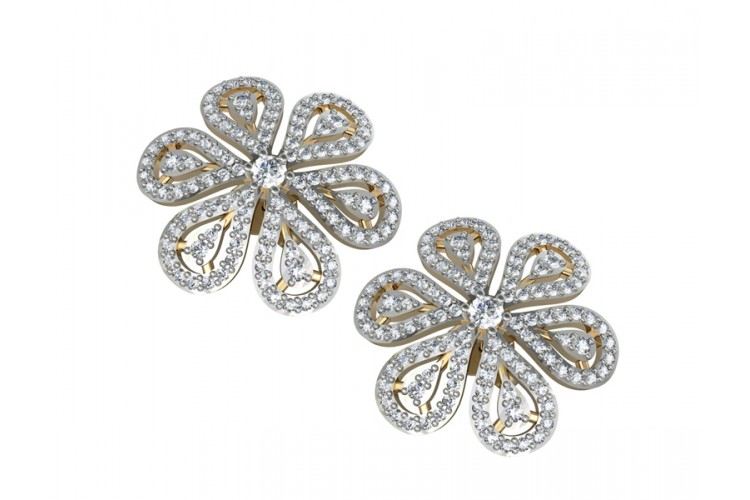 Intricate designer diamond Ear clips