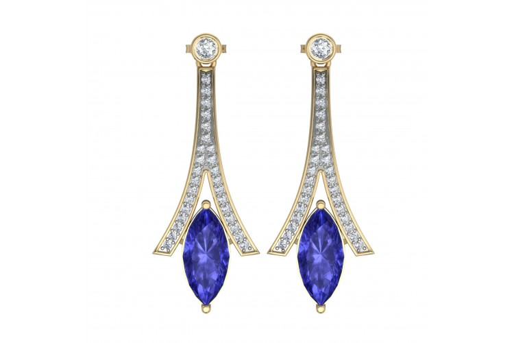 Iolite with Diamond Earrings