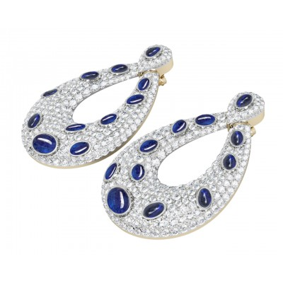 Vanessa Cabachon Sapphire & Diamond Earrings
