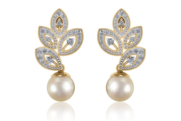 Aarna Pearl Diamond Earrings