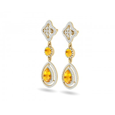 Asin Citrine & diamond Dangle Earrings