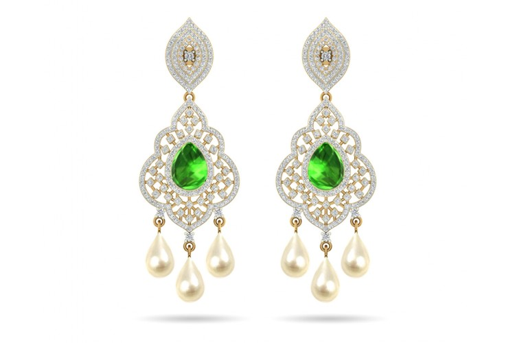 Adrika Emerald Diamond Earrings