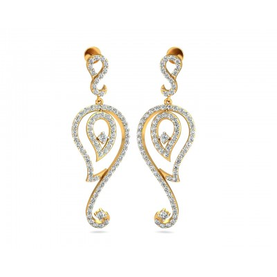 Paisley Diamond Earrings in Gold