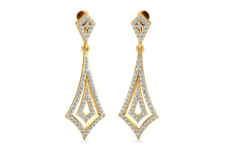 Sia Diamond Danglers In Gold