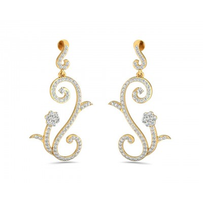 Fleur Long Brilliant Diamond Earrings