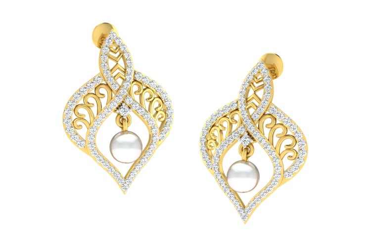 Rina Pearl & Diamond Earrings