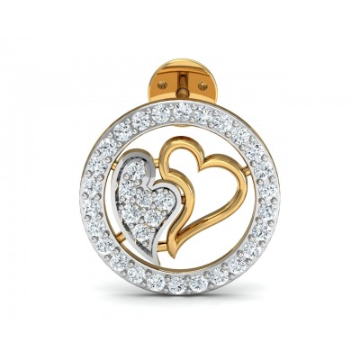 Samra Diamond Heart Earrings in Gold