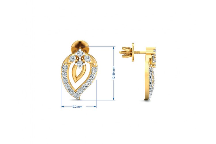 Heva Daily wear diamond earrings in 14k hallmarked gold