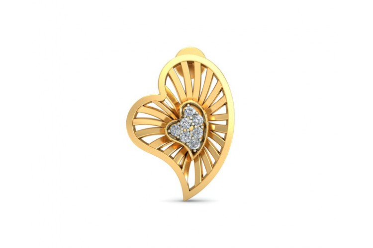 Urith Heart Earring in Gold with diamonds