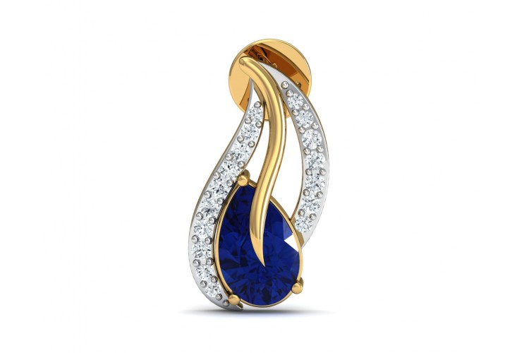 Sary Blue Sapphire & Diamond Earrings In Gold