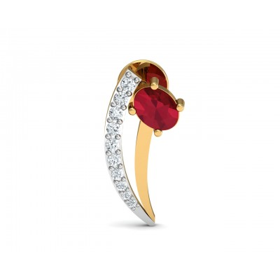 Tory Ruby & Diamond Earring in Gold