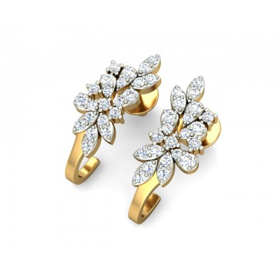Rhia Diamond Earrings in 14k gold studded with 44 round brilliant cut diamonds