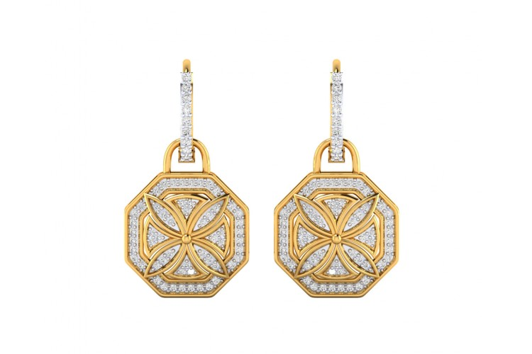 Vania Diamond Dangle Earrings in gold with removable hoops