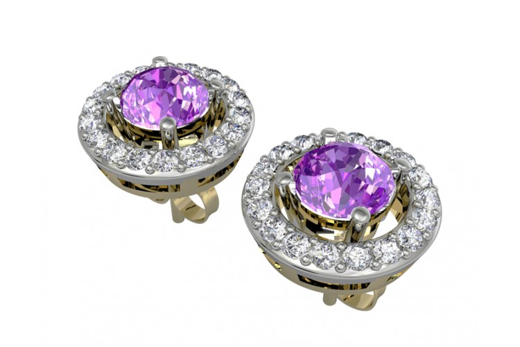 Amethyst & Diamond Cluster Earring