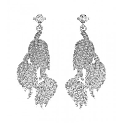 Leaf Earring with Diamonds