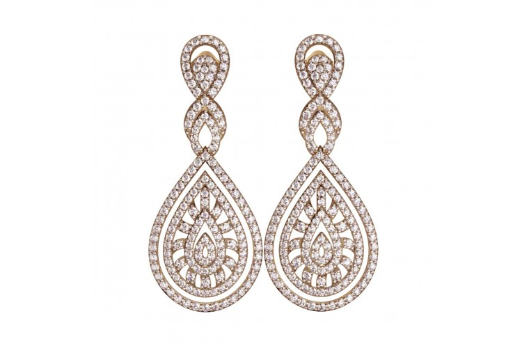 Long Diamond Wedding Earrings