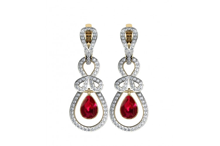 Modish Ruby & Diamond Earrings