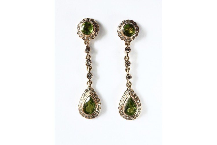 Peridot & Diamond Earring